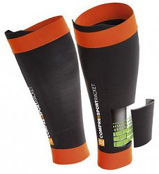 Kompresné návleky na holene Compressport Pro Silicon R2 Black/Orange