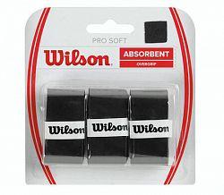 Omotávka na rakety vrchná Wilson Pro Soft Overgrip Black (3 ks)